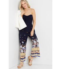 maurices womens navy floral strapless smocked jumpsuit blue