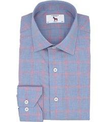 lorenzo uomo trim fit windowpane dress shirt, size 18.5 - 34 in light blue/pink at nordstrom