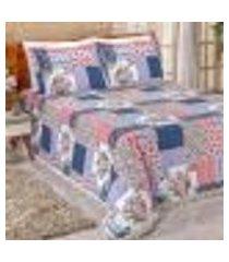 cobre leito casal padrão la bella patchwork 3 peças 2,50m x 2,20m