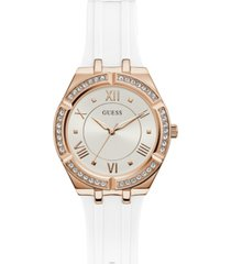 guess women's white silicone strap watch 36mm