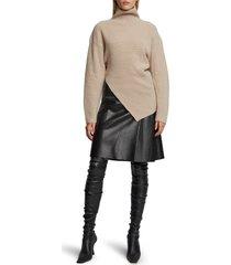 women's proenza schouler rib asymmetrical merino wool sweater, size x-small - white