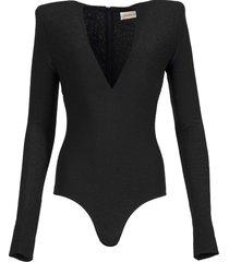 long-sleeve v-neck bodysuit black
