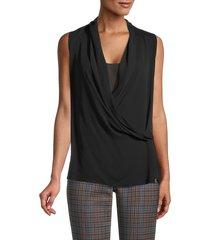 theory women's sleeveless folded drape silk top - black - size s