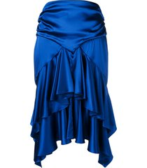 alexandre vauthier ruffled skirt - blue