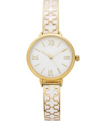 charter club women's gold-tone & white enamel bangle bracelet watch 30mm