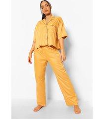 pyjama set met korte mouwen en biezen, mustard