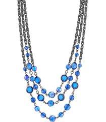 2028 black-tone 3-strand necklace