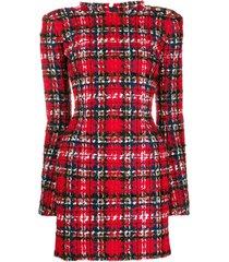 balmain tartan tweed mini dress - red