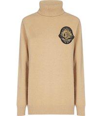balmain logo-patch wool and cashmere turtleneck