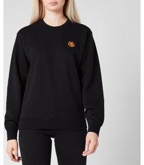 kenzo women's classic fit sweatshirt tiger crest - black - l