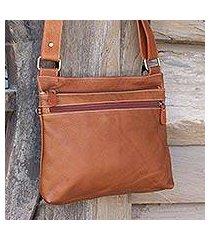 leather shoulder bag, 'ready russet' (thailand)