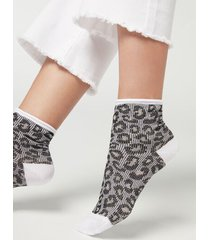 calzedonia animal print cotton ankle socks woman print size tu