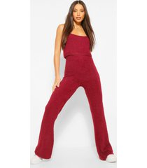 tall premium fluffy crop top and pants co-ord, berry