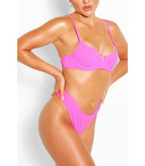 mix & match crinkle underwired bikini top, pink