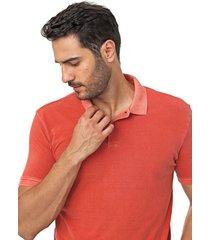 camisa polo forum reta lisa laranja - laranja - masculino - algodã£o - dafiti