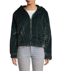 faux fur zip hoodie