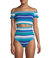 jamie crochet stripe off-the-shoulder bikini top