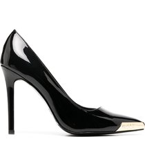 versace jeans couture pointed toe cap detail pumps - black