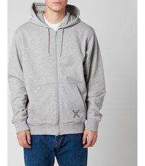 kenzo men's sport full zip hoodie - pearl grey - xxl