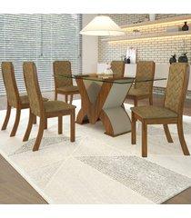 mesa de jantar 6 lugares ibis cedro/areia - viero móveis