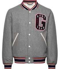 d1. melton varsity jacket dun jack grijs gant