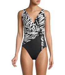 magicsuit women's sketchy kaia print one-piece swimsuit - black white - size 12