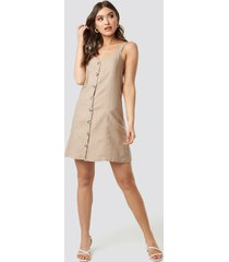 trendyol button detail mini dress - beige