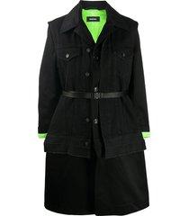 diesel w-charie convertible coat - black