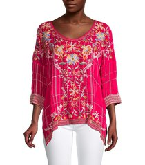 johnny was women's sienna embroidered blouse - pink peacoat - size xs