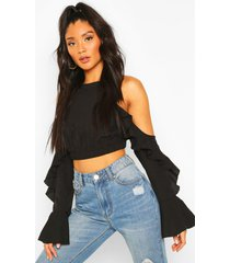 cold shoulder ruffle flare sleeve top, black