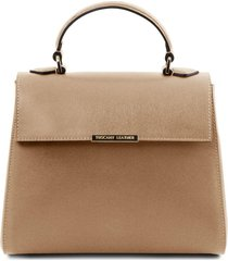 tuscany leather tl141628 tl bag - bauletto piccolo in pelle saffiano caramello