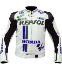 men white repsol blue logo honda motogp racing motorcycle leather jacket ce pads