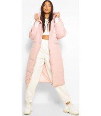 tall lange gewatteerde jas, pink
