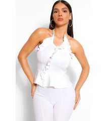 frill wrap strapless top, white