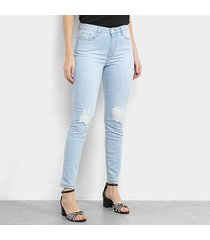 calça jeans skinny maria filó delavê destroyed cintura alta feminina