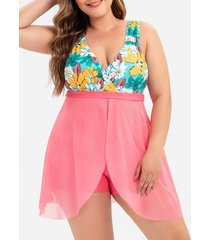 plus size low cut floral print overlay one-piece swimsuit