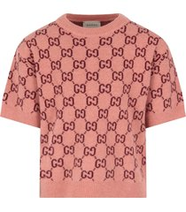 gucci pink sweater with double gg for girl