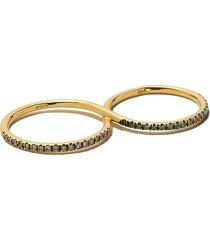 ileana makri 18kt yellow gold diamond double ring - champagne / green