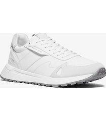 mk sneaker miles in pelle e nylon - bianco ottico (bianco) - michael kors