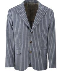 comfort cotton chalk stripe blazer with large peak lapels brunello cucinelli