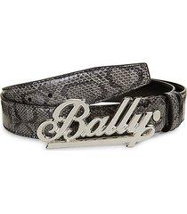 snakeskin-embossed leather belt