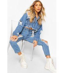 distressed cropped jean jacket, mid blue