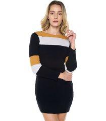 vestido acanalado rayas 3 colores smalto