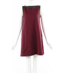 sacai red blue striped stretch knit cotton sleeveless dress blue/red sz: m
