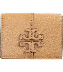 women's tory burch mini mcgraw trifold leather wallet - brown