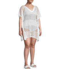 lulla collection by bindya women's plus crochet coverup tunic - white