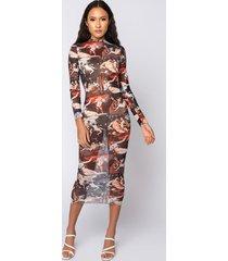 akira call the getty renaissance print mesh midi dress