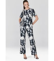natori tie-dye floral fluid crepe pull on pants, women's, white, size xl natori