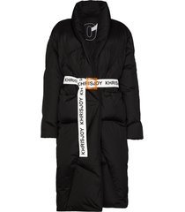 khrisjoy contrast-belt mid-length puffer coat - black