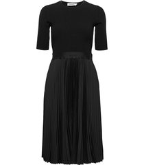 ns pleated skirt midi dress knälång klänning svart calvin klein
